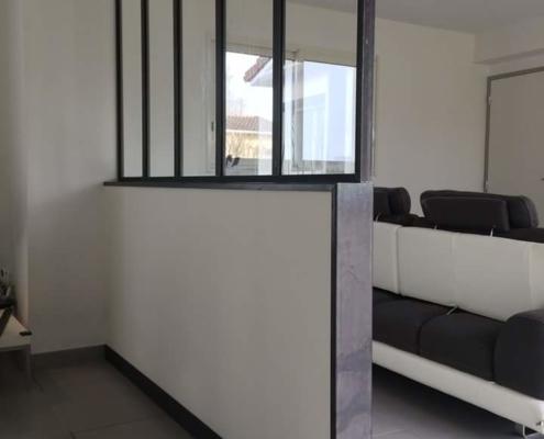 verrière d'intérieur cuisine salon en fer forgé