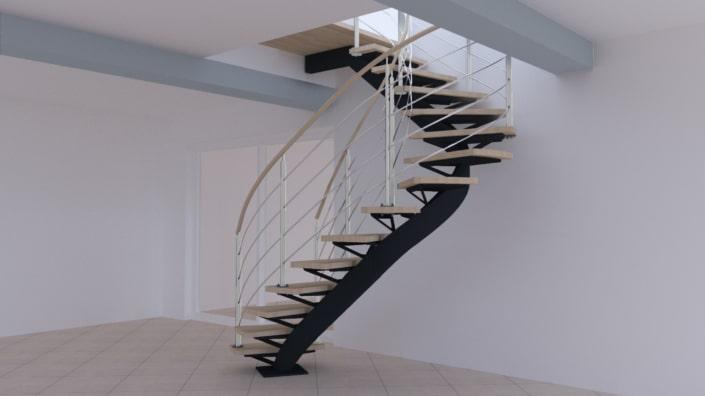 escalier quart tournant en bois avec limon et rampe en acier