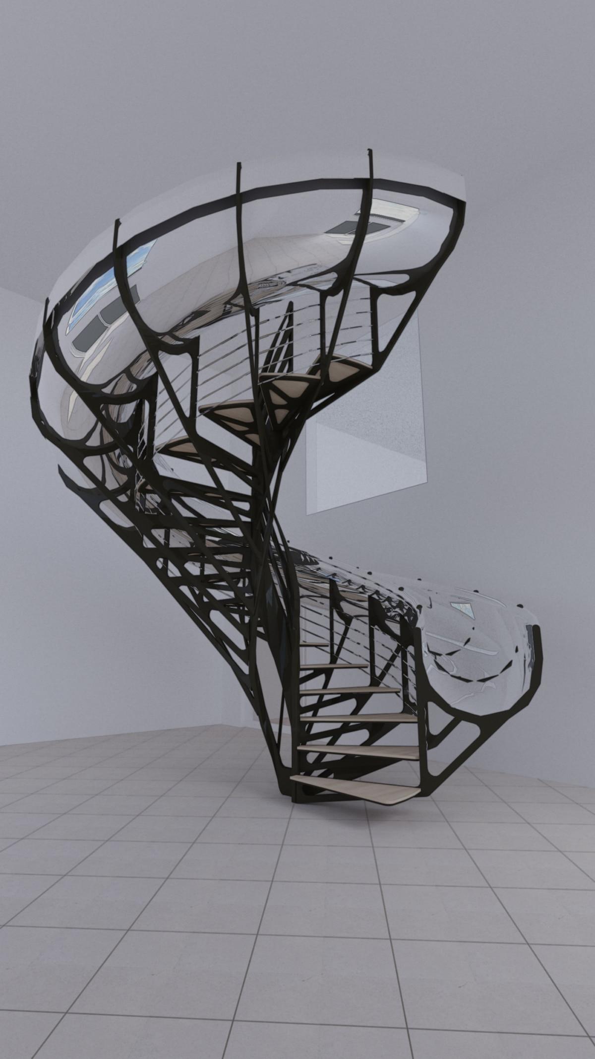 escalier original et moderne avec toboggan en acier