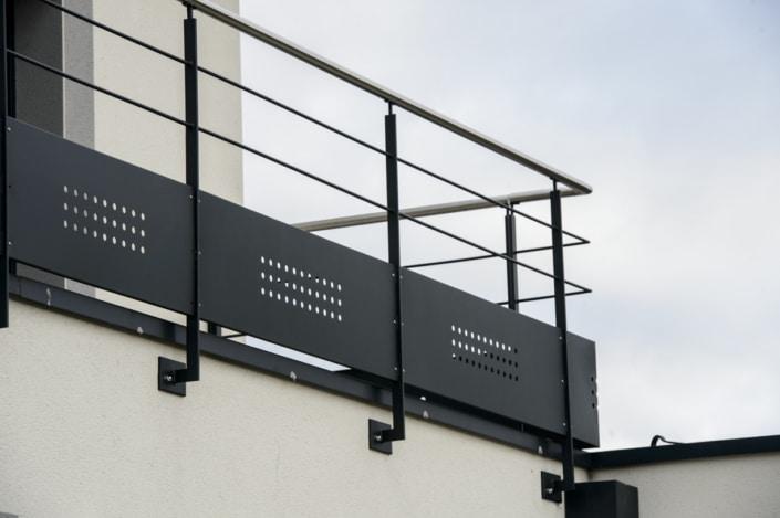 garde-corps à l'anglaise design en acier terrasse