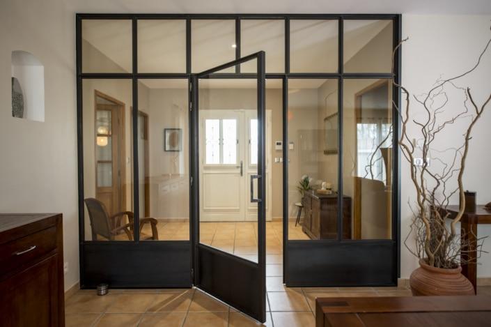 verrière d'intérieur en métal séparation salon