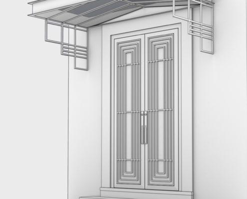 porte entree et marquise design en metal