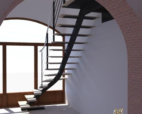 escalier quart tournant moderne en metal avec marche en bois