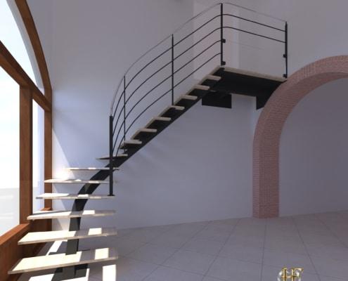 escalier quart tournant limon metal marche en bois design