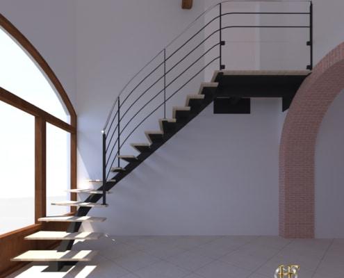 escalier design quart tournant limon central en acier marche en bois