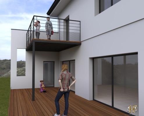 maison moderne avec terrasse en bois balcon avec support metallique et garde-corps acier