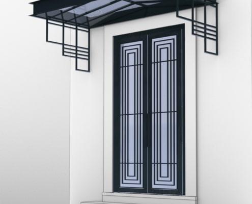 porte entree moderne en metal avec auvent luxueux en fer forge
