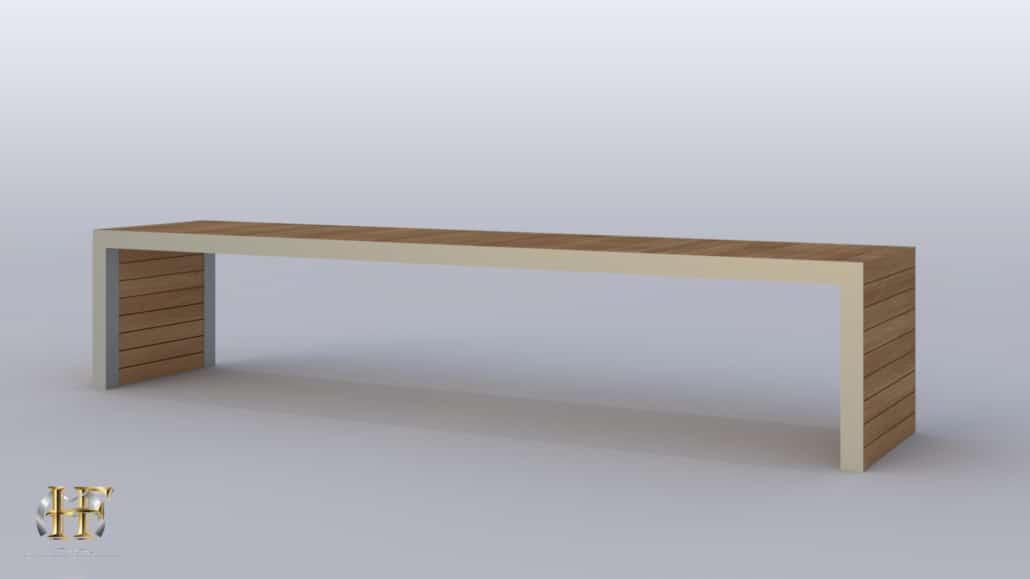 banc en bois et fer forge