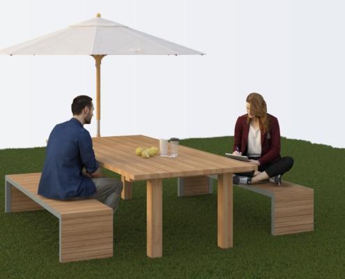 salon de jardin exterieur avec table et banc en bois et metal