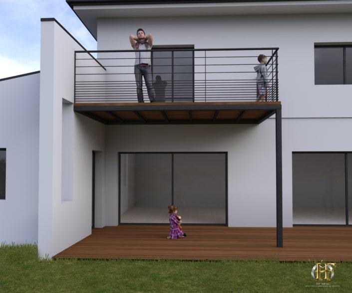 maison moderne avec balcon en bois avec support en metal et garde-corps design fer forge
