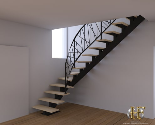 escalier quart tournant metal avec rampe design