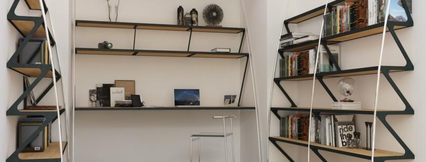 bibliotheque en acier design avec etagere en bois