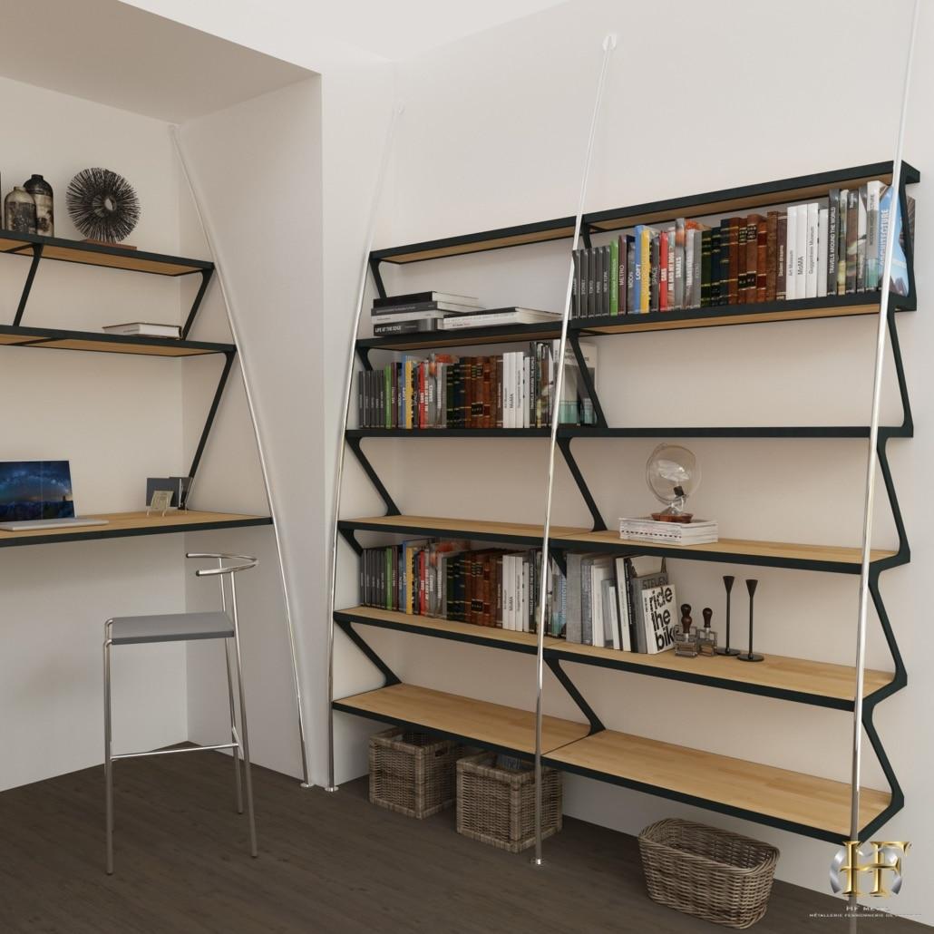 bibliotheque design sur mesure en acier