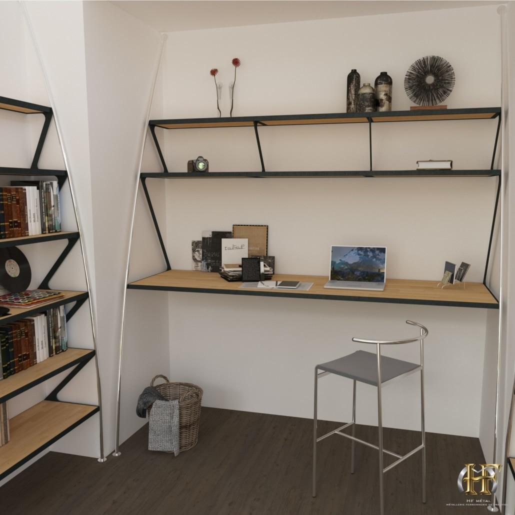 bureau bibliotheque moderne en metal et en bois