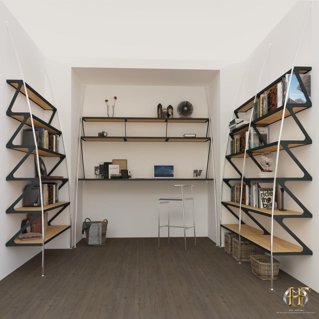bibliotheque design et bureau en fer forge sur mesure