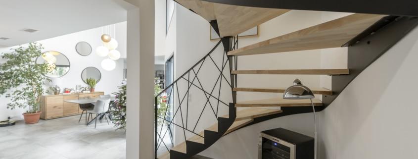 escalier double quart tournant en metal moderne