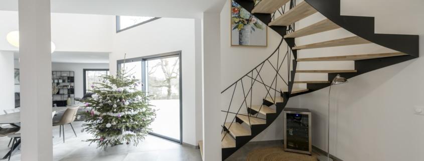 escalier en fer design double quart tournant