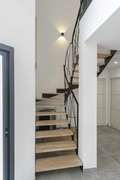 escalier en metal et bois quart tournant