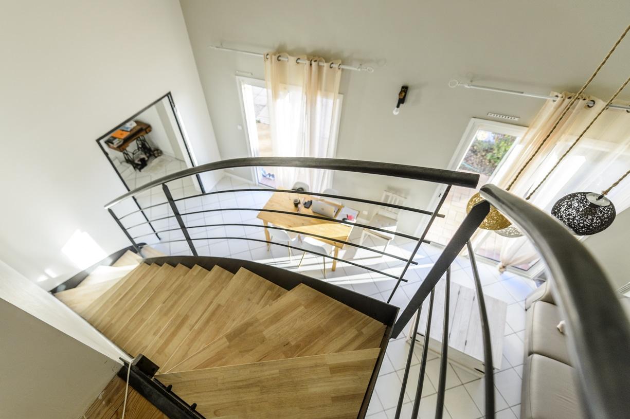 escalier haut de gamme en fer quart tournant