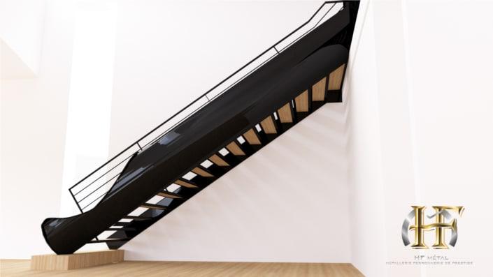 escalier en metal avec toboggan design