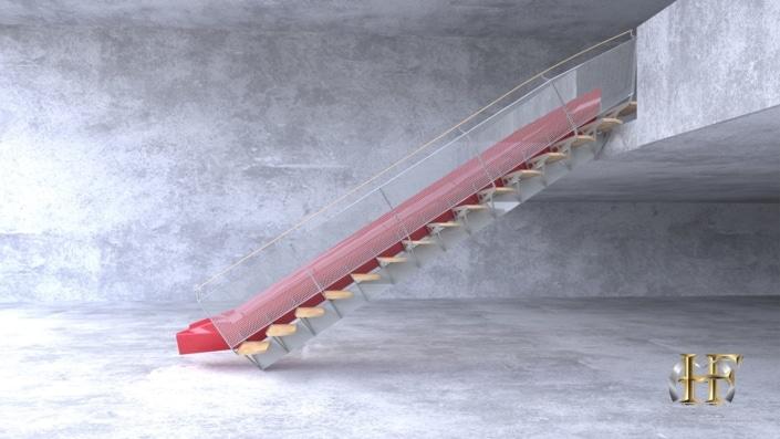 escalier toboggan design droit limon central
