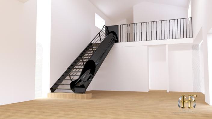 maison avec escalier toboggan