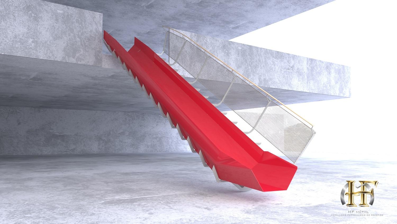 escalier droit limon central avec toboggan