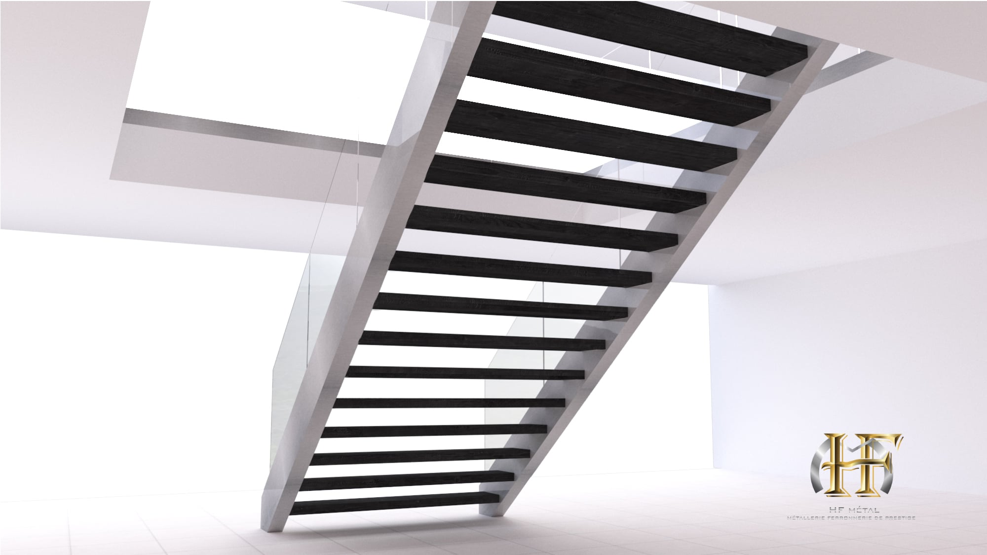escalier droit inox moderne