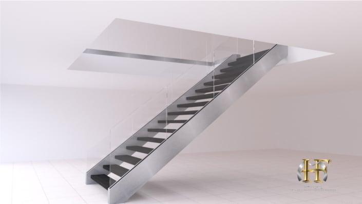 escalier droit inox garde corps en verre