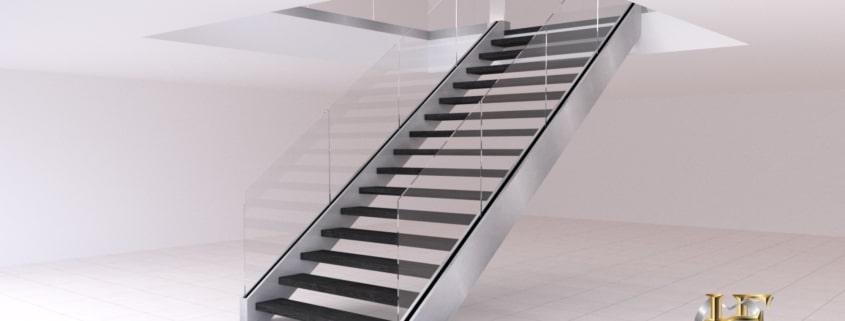 escalier droit inox rampe en verre marche en bois
