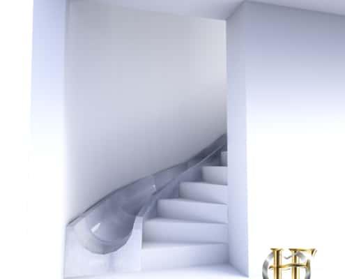 escalier en béton avec toboggan en fer