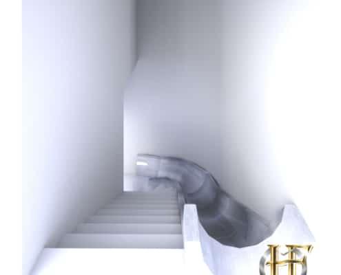 escalier droit avec toboggan en fer