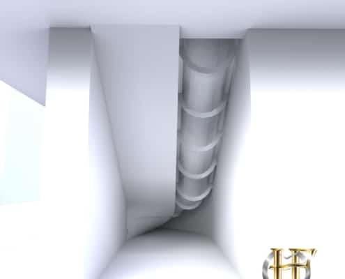 escalier droit en béton avec toboggan métal