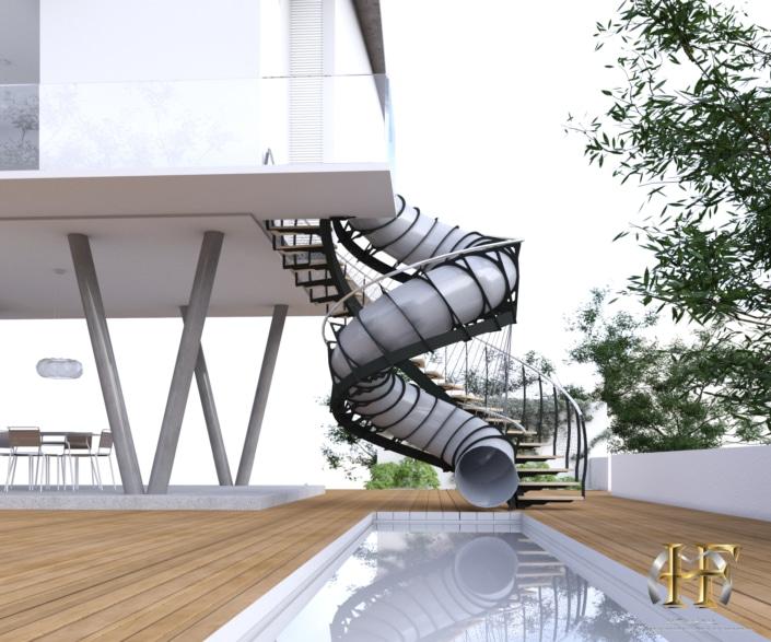 escalier toboggan extérieur design