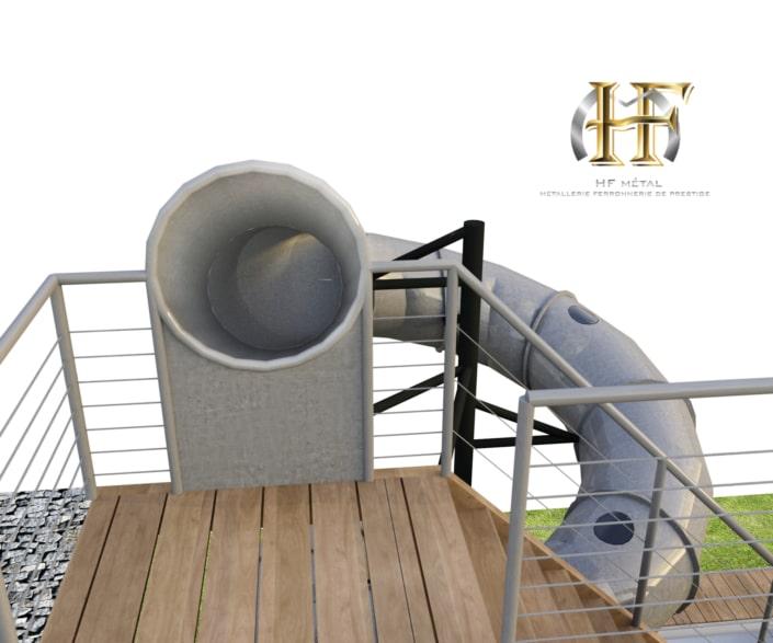 escalier toboggan métal extérieur