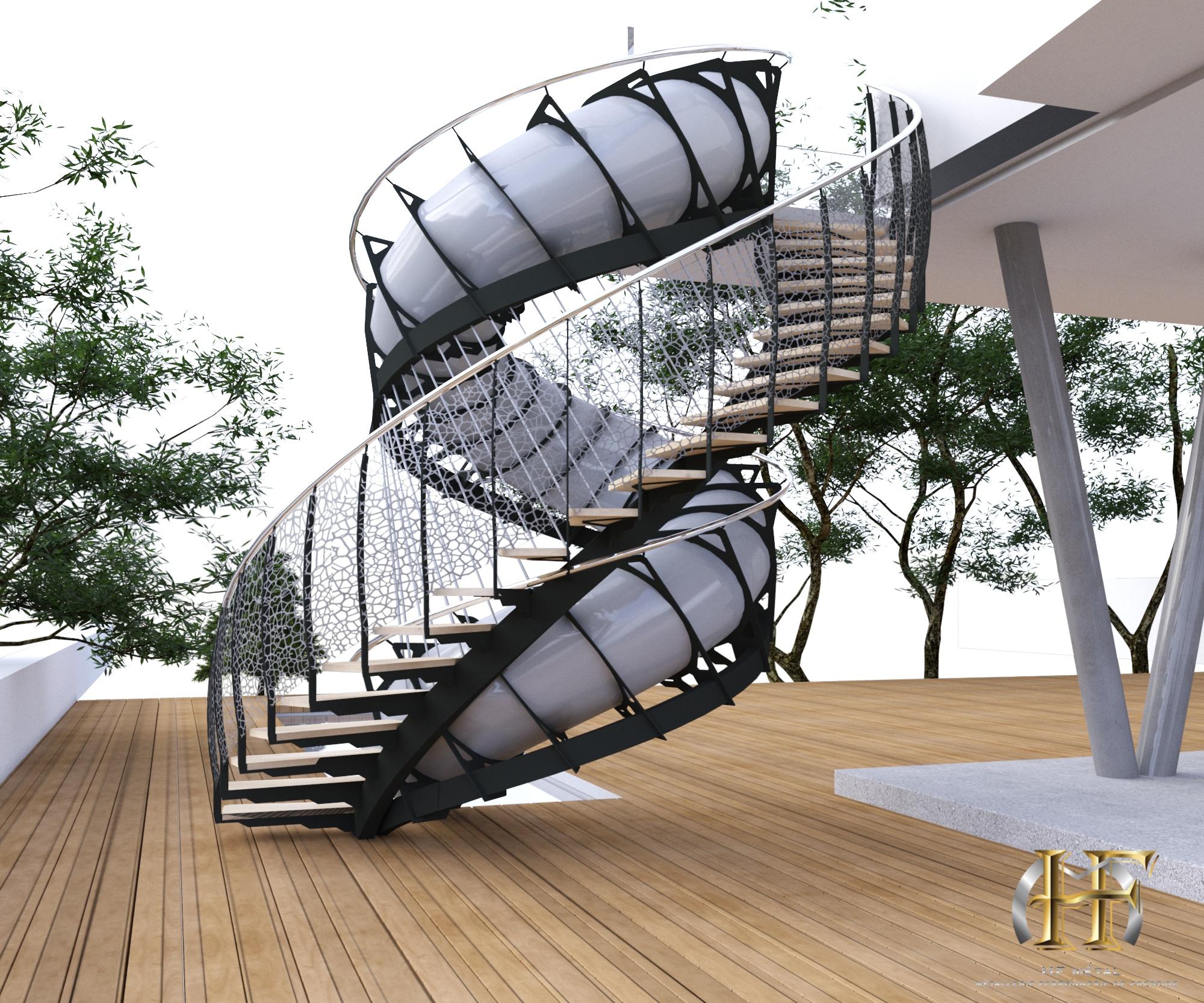 maison moderne avec escalier toboggan extérieur