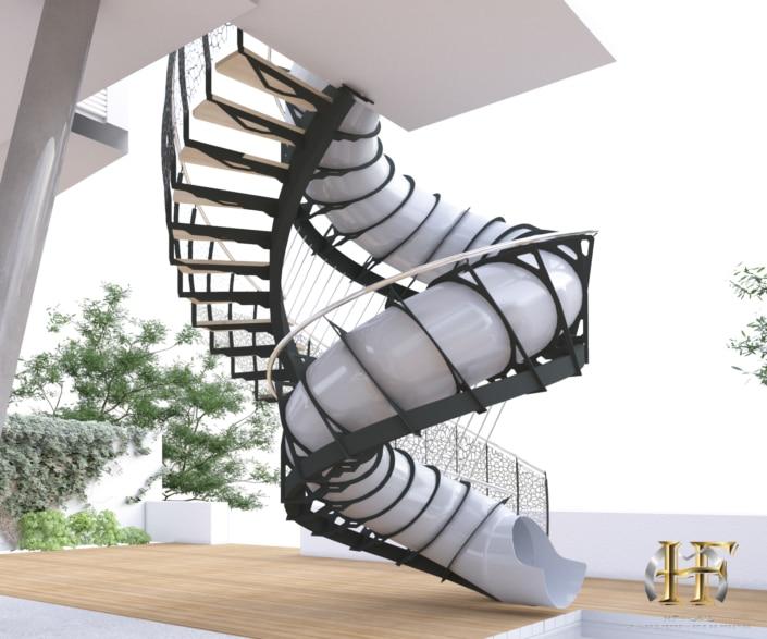 maison design avec escalier toboggan fer