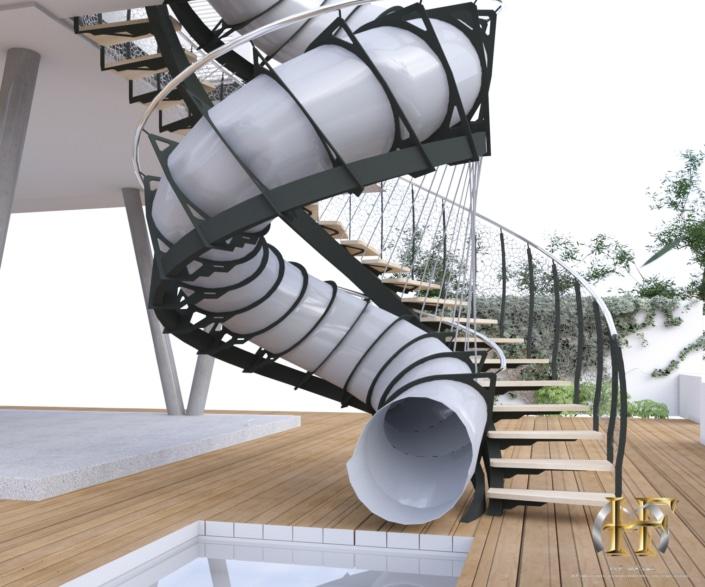 escalier toboggan en metal moderne