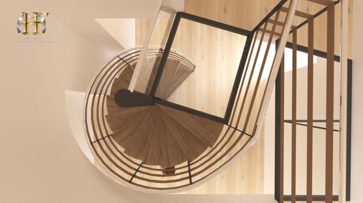 escalier hélicoïdal en fer et en bois