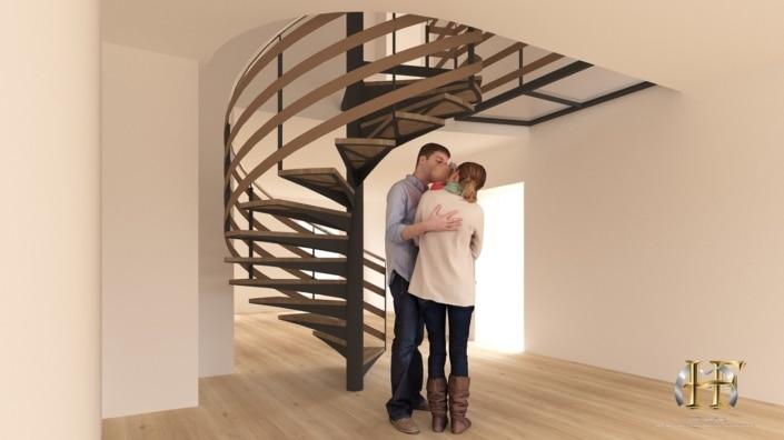 escalier tournant en métal et marches en bois