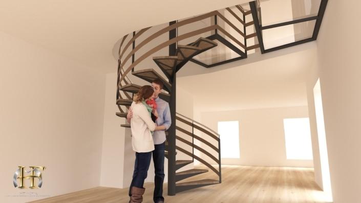 escalier hélicoïdal moderne en métal avec marches bois