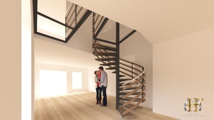 escalier tournant bois et métal avec pallier en verre