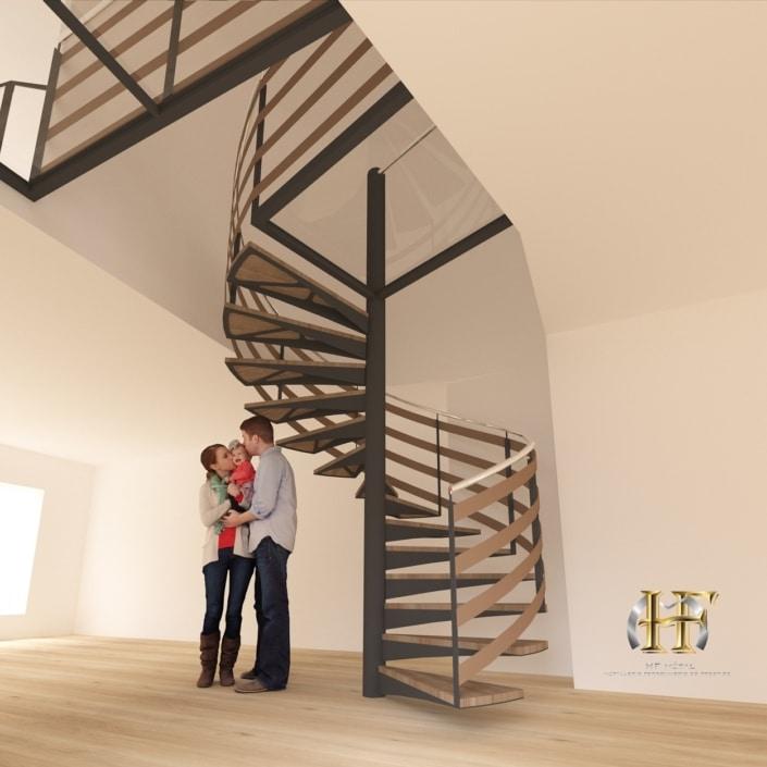 escalier tournant en bois, métal et verre