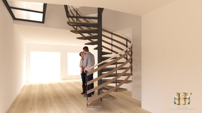 escalier tournant moderne fer et bois