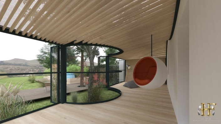 maison moderne avec grande véranda arrondie