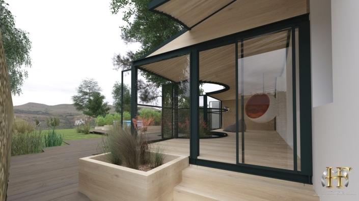 maison design avec grande baie vitrée et véranda
