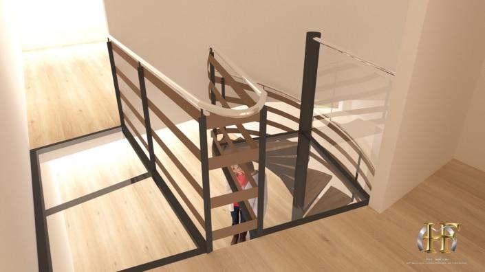 garde-corps en métal et bois et sol en verre