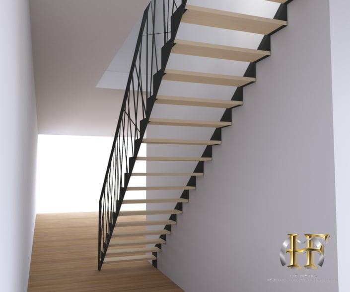 escalier droit métal et bois