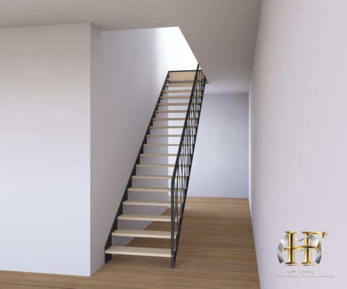 escalier droit en métal