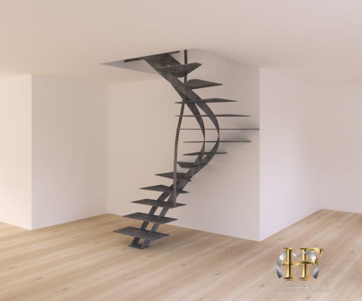 escalier deux quart tournant en metal